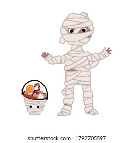 Halloween funny monster mummy with a bucket of candy. Kids costume party. Cute childish illustration of magic character with elements in simple cartoon hand-drawn style. Vector isolated