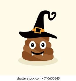 Halloween funny poop. Emotional shit icons. Happy emoji, emoticon. Smiling face symbol. Vector illustration.