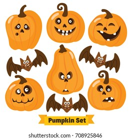 Halloween funny Pumpkin vector icons set. Simple flat style design. Halloween Pumpkin vector. Pumpkin head. Vector illustration. Child cartoon pumpkin