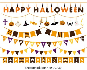 Halloween garland line vector illustration set