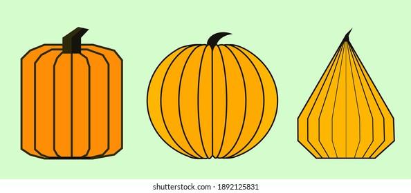 Halloween geometric shapes  pumpkin on a white background