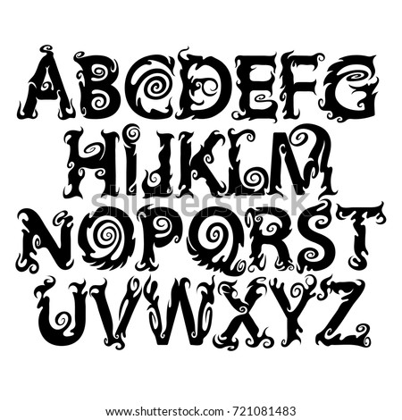 Halloween Ghost Alphabet Scary Font Vector Stock Vector Royalty