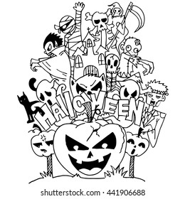 halloween ghost doodle art with hand draw - Halloween Pictures To Draw