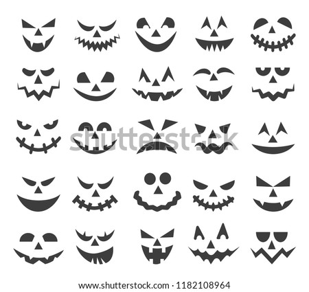 halloween ghost faces scary pumpkin devils stock vector royalty