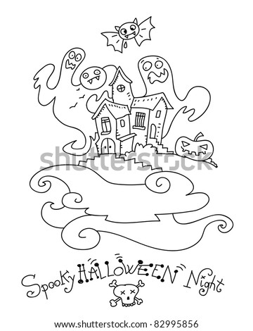 Halloween Ghost House Coloring Page Stock Vector (Royalty Free ...