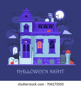 Halloween ghost mansion scene with victorian haunted house, old cemetery, spooks and pumpkins by moon night. Horror story or scary tale concept vector illustration. Halloween night banner background.