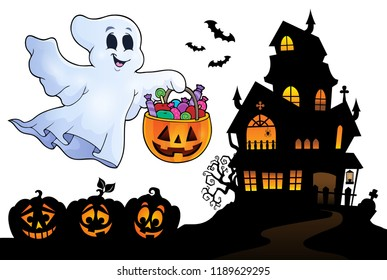 Halloween ghost near haunted house 4 - eps10 vector illustration.