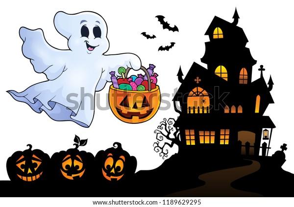 Halloween ghost near haunted house 4 - eps10 vector illustration.