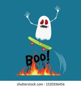 Halloween ghost on a skateboard jumping over word boo fire, illustration vector cartoon