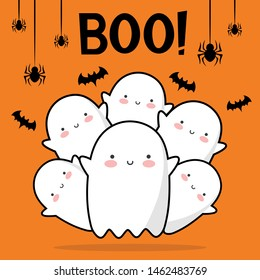 Halloween ghost pattern background, Holidays cute ghost cartoon character, halloween cute icon logo, vector illustration