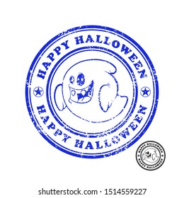 Halloween Ghost Postage Stamp Set. Shabby Round Stamps. Halloween ghost