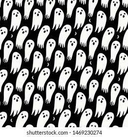 Halloween ghost seamless pattern on black background. Cute halloween ghost pattern background. Halloween theme design vector illustration