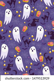 Halloween ghost seamless pattern on purple background. Cute halloween ghost and decoration pattern background. Halloween theme design vector illustration