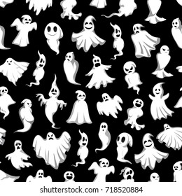 Halloween ghost seamless pattern vector design for horror party invitation poster and trick or treat holiday celebration template. Vector spooky Halloween cartoon happy and scary ghost on black