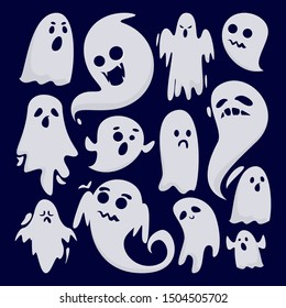 Halloween ghost set vector isolated. Mystery and darkness. Spooky fantasy demon, horror and fear.