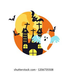 Halloween ghost in a unicorn costume. House with the cute ghost and bat vector in flat design