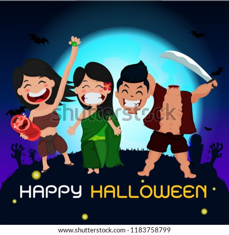 Halloween Ghosts Charector Thailand Ghosts Attended Halloween Party In Full Moon Blue Background With