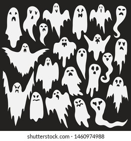 Halloween ghosts. Ghostly monster with Boo scary face shape. Spooky ghost white fly fun cute evil horror silhouette for scary october holiday design or costume, flat vector isolated icon set