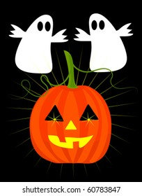 Halloween ghosts and jack'o lantern pumpkin vector illustration