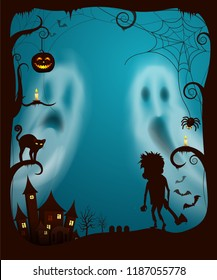 Halloween ghosts and night spooky cemetery with gravestones and tombs, Zombie with ax,, castle old fashioned building. Cat and spiders web vector