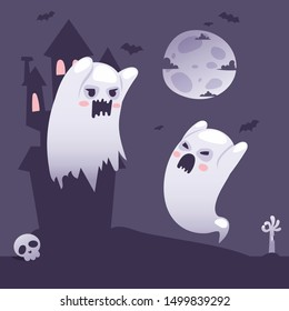 Halloween ghosts outside a haunted old castle at night, cartoon style vector illustration. Ghost parent teaches ghost child to scare people. Cute halloween characters