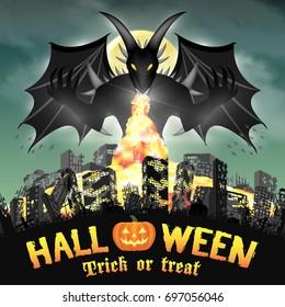 halloween giant devil monster destroy city by fire