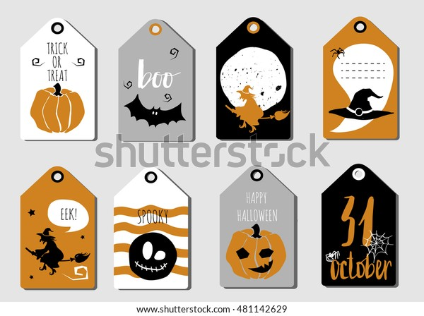Halloween Gift Tags Set Autumn Bats Stock Vector Royalty Free 481142629