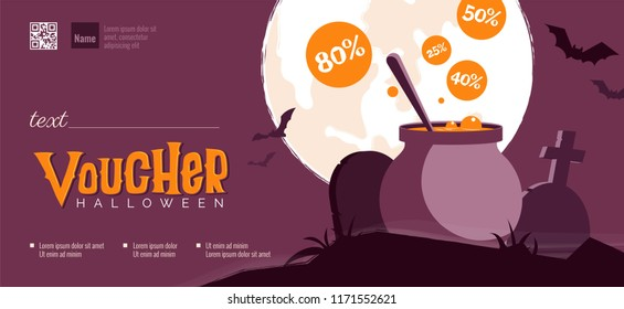 Halloween gift voucher template. Vector illustration