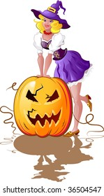 Halloween! Girl dressed as a witch with pumpkin. Isolated on white