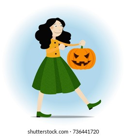Halloween girl walking with pupmpkin cary face expression