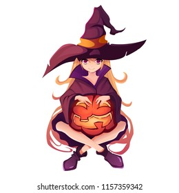 Halloween Girl in witch costume with pumpkin in hands. Isolated on white background Anime Witch for celebrating Halloween. Cartoon vector illustration.