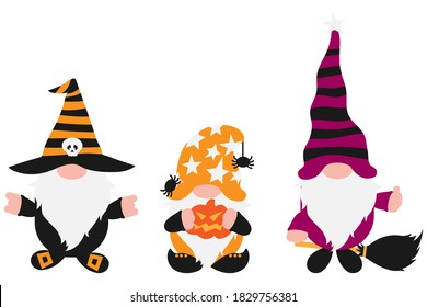 Halloween Gnomes Set with white beards in holiday costumes with broom, pumpkin in hands, spider. Isolated no background. Cute farmhouse gnome for invitation, greeting card, home decoration, promo