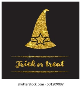 Halloween gold textured hat icon on black background. Golden design element for festive banner, greeting and invitation card, flyer, tag, poster, postcard, advertisement. Vector illustration.