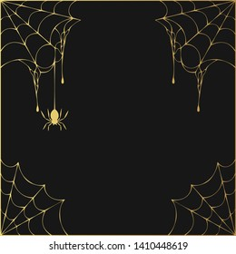 Halloween golden spiderweb corner frame with hanging spiders. Vector isolated gold spooky background for october night party.