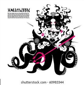 Halloween gothic dark creature, sea witch - queen of ocean with trident