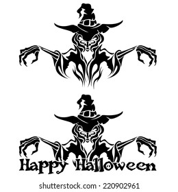 Halloween Graphic of Black Witch or Warlock on White Background