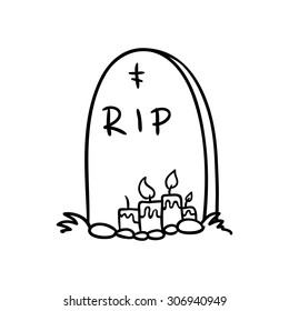 halloween grave doodle , vector illustration on a white background