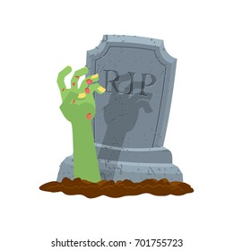 Halloween. Grave and hand of zombie. Gravestone and arm dead man. Illustration for terrible holiday