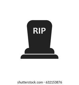 Halloween grave icon. Gravestone vector illustration. Rip tombstone flat icon.