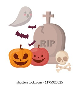 halloween gravestone with pumpkins and ghost