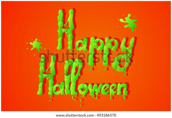 Halloween green slime text