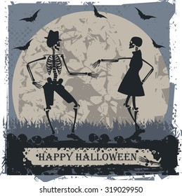 Halloween greeting card with couple skeleton