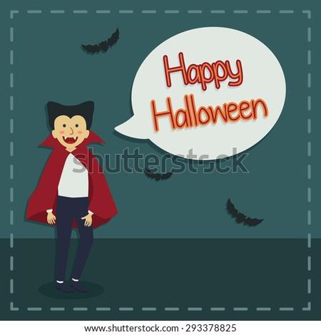 Halloween greeting card dracula saying happy stock vector royalty halloween greeting card with dracula saying happy halloween in night background m4hsunfo