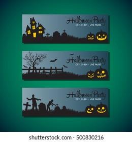 Halloween greeting card flat style design illustration, door hanger and flyer