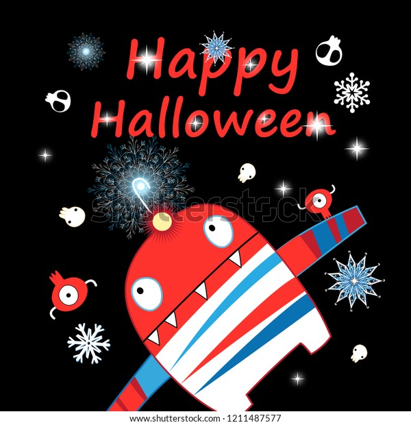 Halloween greeting card with a funny monster and skulls on a dark background