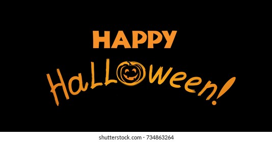 Halloween greeting card. Holiday background with lettering and pumpkin