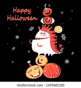 Halloween Greeting Card with Monster and Pumpkins on Dark Background