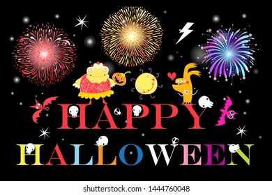 Halloween greeting card with monsters and skulls on a dark background. Halloween font composition and characters for the holiday.