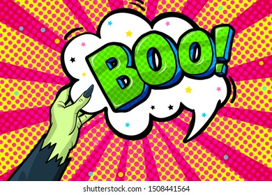 Halloween Greeting Card in pop art style. Witch is holding in her hand Boo message in speech bubble on red background. Vector illustration.
