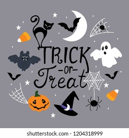 "Halloween greeting card, poster, banner. ""Trick or treat""hand drawn lettering."